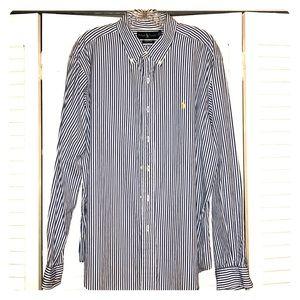 Ralph Lauren Polo Blue Stripe LS Shirt Size XL